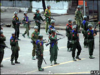 Troops on the streets of Rangoon on 27 September 2007