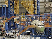The Dreamliner being built in a factory in Washington state