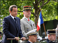 President Sarkozy reviews troops on Bastille Day