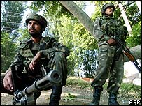 Soldiers in Indian-administered Kashmir