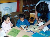 Children in early years classroom