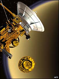 Artist's impression: Cassini and its Huygens lander at Titan