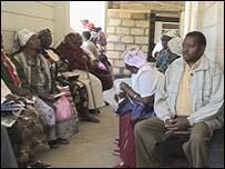 Patients waiting at Naivasha Hospital, Kenya