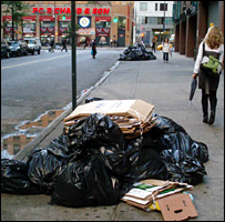 Rubbish bags on the street in New York