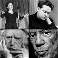 Clockwise top left, Edith Piaf, Dylan Thomas, Pablo Picasso, Augustus John