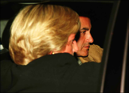 Diana and Dodi Al Fayed in the car before the crash. Picture shown to jury on 11 October