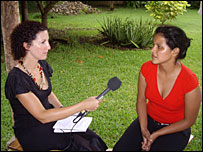 Jane Dreaper interviewing Gema, a women's group worker