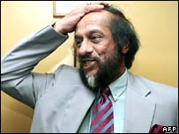 IPCC chairman Rajendra Pachauri after winning the Nobel Peace Prize in Delhi on Friday