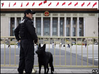Police outside the Great Hall of the People