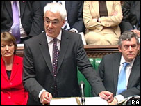 Alistair Darling gives his pre-Budget report in the House of Commons