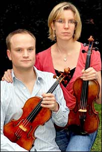 Violinists Oliver Morris and Hazel Ross