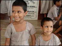 abandoned girls: Lalitha, 6, and her sister Priyanjali, 3