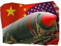 Missile over a background of the Chinese and US flags