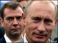 Russian President Vladimir Putin (R) and Dmitry Medvedev (L)  (Photo: Vladimir Rodionov/AFP/Getty Images)