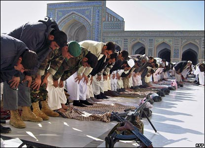 Afghan Muslim perform prayers at a mosque in Herat