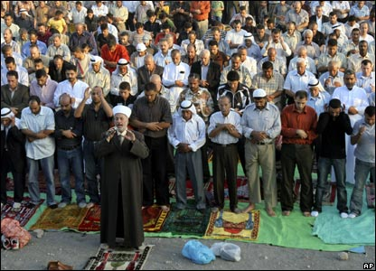 Palestinians pray in the West Bank town of Jenin