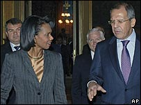 Condoleezza Rice and Sergei Lavrov