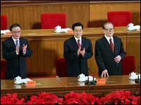 Hu Jintao with other senior leaders in August 2007
