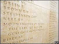 Names on memorial