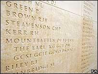 Names on memorial