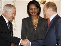 Robert Gates, Condoleezza Rice y Vladimir Putin