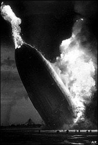 Hindenburg airship burst into flames on May 1937