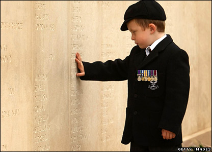Five-year-old Alex Wall at Armed Forces Memorial
