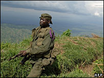 A Congolese army soldier in the mountains in the east of the country