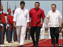 Los presidentes de Colombia, Ecuador y Venezuela