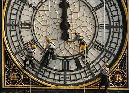 Maintenance work on the clock face of Big Ben