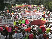Street vendors' protest against the ban in Mexico City on Thursday 11 October