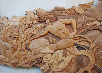 Wood carving made from trees brought down in the storm