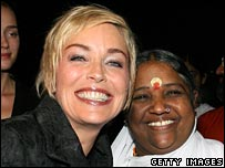 Sharon Stone and Mata Amritanandamayi