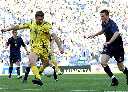Ukraine's Andriy Shevchenko lashes the ball home