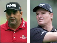 Angel Cabrera (left) will play Ernie Els in the final