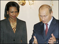 Vladimir Putin (M) and Condoleezza Rice in Moscow on Friday 12 October 2007