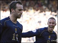 James McFadden and Kenny Miller celebrate against Ukraine