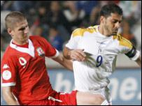 Wales midfielder Carl Robinson challenges Cyprus striker Yiannis Okkas