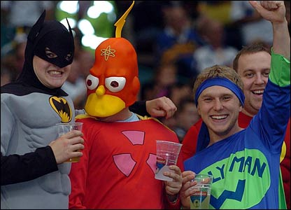 Supporters in fancy dress before the Super League Grand Final at Old Trafford