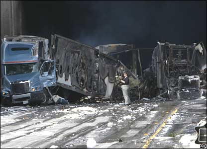 Lorry pile-up on Interstate 5 near Los Angeles