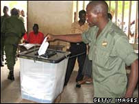 A soldier votes in Lome, Togo