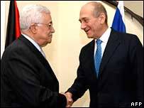File pic of Ehud Olmert (R) and Mahmoud Abbas