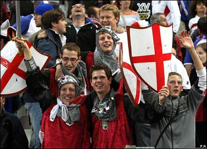 England fans in fake armour and shields