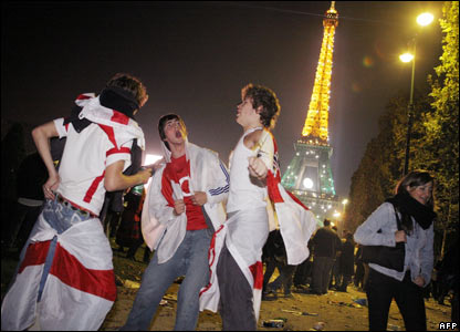 England fans in front of the Eiffel Tower