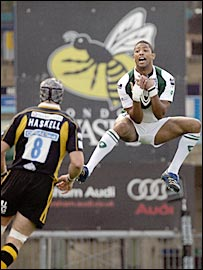 London Irish full-back Delon Armitage leaps to claim a high ball