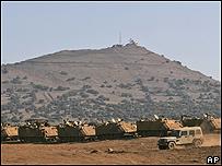 Tanques israelíes en las Alturas del Golán