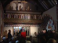 The congregation inside St Teilo's church