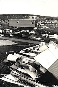 Caravan park devastated by the 1987 storm (Image: PA)