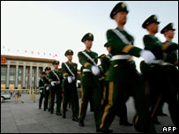Chinese patrol outside Great Hall of the People