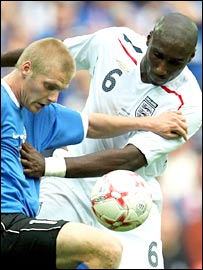 Sol Campbell battles against Estonia